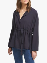 French Connection Crepe Gathered Waist Blouse Utility Blue
