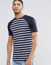 Asos Longline Muscle T Shirt In Stripe With Curved Hem Navy
