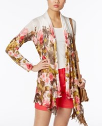 Inc International Concepts Petite Floral Print Draped Cardigan Only At Macy's White