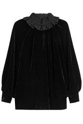 Fendi Velvet Top With Ruffled Collar Black