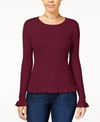 Hooked Up By Iot Juniors' Ruffle Hem Sweater Ruby Wine