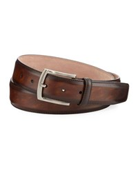 Magnanni Arcade Square Buckle Calf Leather Belt Brown