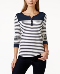 Charter Club Colorblock Striped Henley Top Only At Macy's