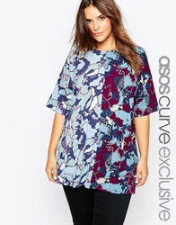 Asos Curve Oversized T Shirt In Mixed Camo Print Multi