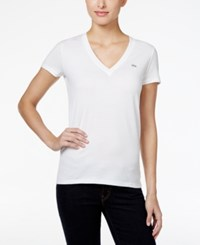 Lacoste V Neck T Shirt White