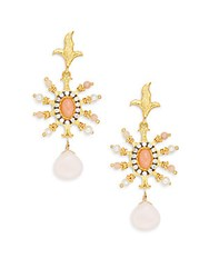 Azaara Delicate 3Mm Freshwater Potato Pearl Pink Coral Pink Opal And Crystal Starburst Drop Earrings Gold