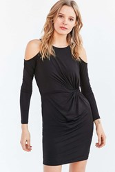 Silence And Noise Cold Shoulder Side Knot Mini Dress Black