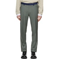 Lanvin Green Contrasted Waist Tailored Trousers