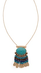 Jules Smith Designs Hanging Medallion Necklace Turquoise Gold