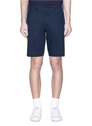 Nanamica Stripe Outseam Canvas Shorts Blue