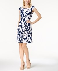 Robbie Bee Petite Floral Print Fit And Flare Dress Navy White