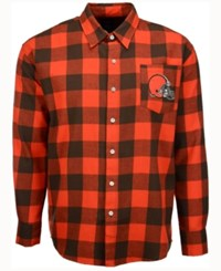 Forever Collectibles Men's Cleveland Browns Large Check Flannel Button Down Shirt Orange Brown
