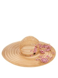 Maison Michel Lucia Embellished Straw Hat Red Multi
