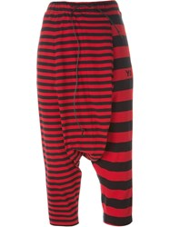 Y 3 Multi Stripe Drop Crotch Trousers Red