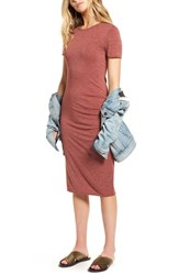 Treasure And Bond Side Ruched Body Con Dress Rust Madder