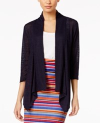 Ny Collection Ribbed Illusion Cardigan Evening Blue