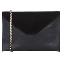 Oasis Charlie Suede Patched Clutch Bag Black