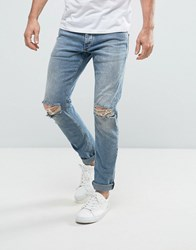 Jack And Jones Intelligence Slim Fit Jeans In Light Blue Wash With Knee Rips Blue Denim