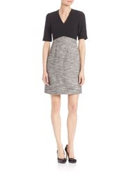 Lk Bennett Karlie Mixed Media A Line Dress Black Multi