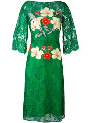 Rhea Costa Flower Print Lace Dress Women Silk Viscose 48 Green