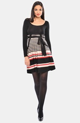 Olian 'Kayla' Stripe Cross Front Maternity Tunic Black