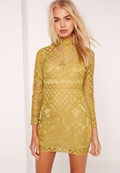 Missguided Petite Lace High Neck Mini Dress Chartreuse Green