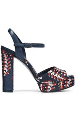 Tory Burch Solana Leather Trimmed Jacquard Platform Sandals Navy