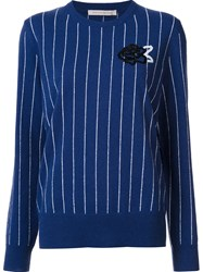 Christopher Kane Rose Embroidered Sweater Blue