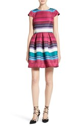 Ted Baker Women's London Blushing Bouquet Stripe Fit And Flare Dress