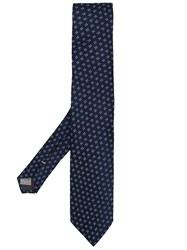 Canali Textured Floral Tie Blue