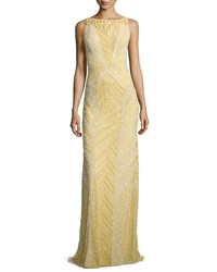 Theia Deco Sequin And Beaded Gown Dijon