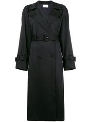 The Row Double Breasted Trench Coat Black