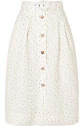 Rebecca Vallance Holliday Belted Polka Dot Linen Blend Skirt Ivory