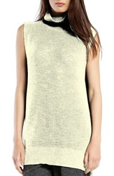 Women's Michael Stars Sleeveless Side Slit Turtleneck Parchment