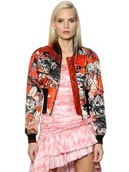 Roberto Cavalli Floral And Snake Print Satin Bomber Jacket