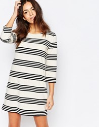 Esprit Stripe Shift Dress Off White