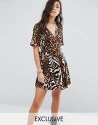 Milk It Wrap Dress In Abstract Leopard Print Multi