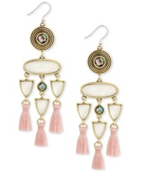 Lucky Brand Gold Tone Pink Fringe White And Abalone Stone Drop Earrings