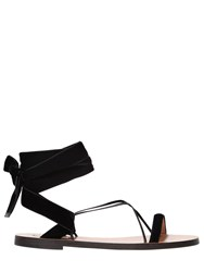 Valentino 10Mm Velvet And Leather Lace Up Sandals