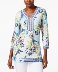 Jm Collection Floral Print V Neck Tunic Top Only At Macy's Floral Embrace