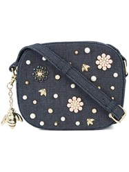 Christian Siriano Floral Embellished Crossbody Bag Blue
