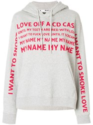 House Of Holland Printed Hoodie Cotton Grey