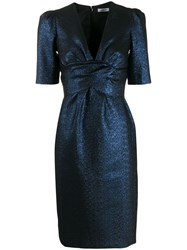 P.A.R.O.S.H. Glitter Detail Fitted Dress Blue