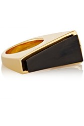 Maiyet Gold Plated Horn Ring Black