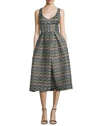 Milly Sleeveless Chevron Brocade Midi Dress Multicolor