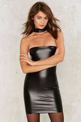 Protect Ya Neck Vegan Leather Mini Dress Black