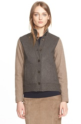 Eleventy Two Tone Wool Blend Stand Collar Jacket Brown