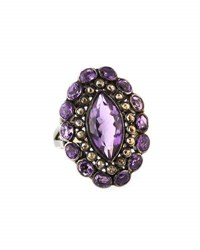 Bavna Amethyst And Champagne Diamond Cocktail Ring Size 7.25