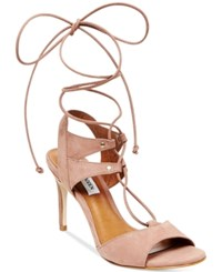 Steve Madden Women's Selmah Lace Up High Heel Sandals Women's Shoes Taupe