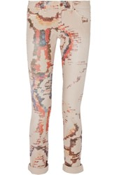 Etoile Isabel Marant Relly Tie Dyed Low Rise Skinny Jeans Brown